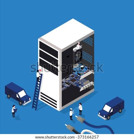 computer repair service flat 3d