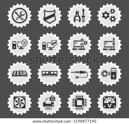 computer repair web icons stylized postage stamp for user interface design