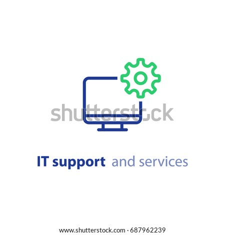 Computer repairing, IT support and services concept, software development, system administration, desktop upgrade and update, program installation, vector line icon, stroke