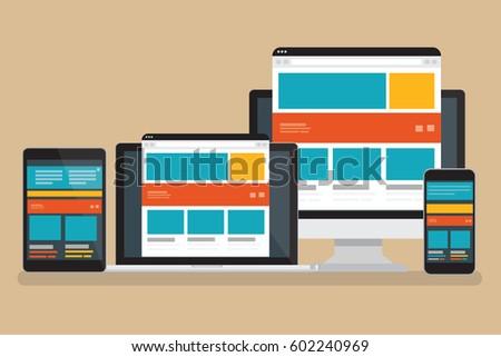 Computer responsive concept design,clean vector