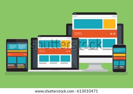 Computer responsive design,clean vector