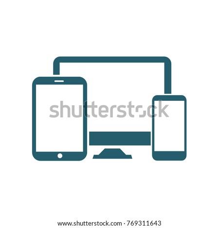 Computer responsive icon design,vector