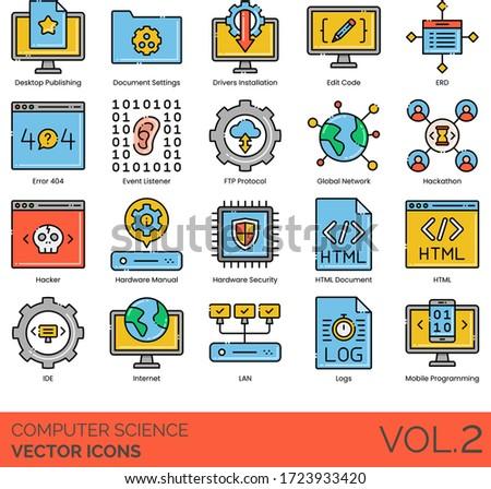Computer science icons including desktop publishing, driver installation, edit code, ERD, error 404, event listener, FTP protocol, hackathon, hacker, security, HTML, IDE, LAN, log, mobile programming. Stock fotó ©