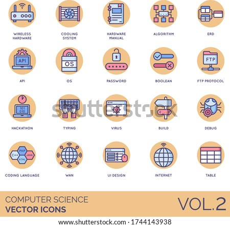 Computer science icons including wireless hardware, cooling system, manual, algorithm, ERD, API, OS, password, boolean, FTP protocol, hackathon, typing, virus, build, debug, coding language, WAN, UI. Stock fotó ©