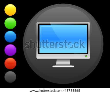 computer screen icon on round