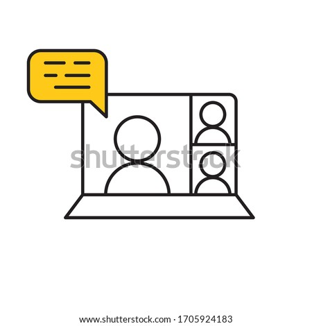 Computer screen icon with a live broadcast on a streaming channel with a symbol of a person having a video call or online conference meeting.