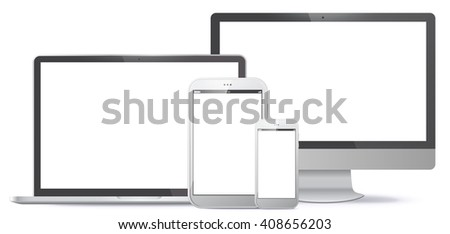 Computer Screen, Tablet PC, Notebook, Smart Phone Vector illustration.