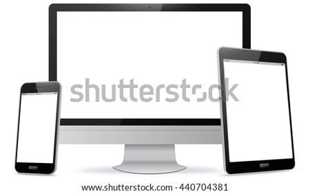Computer Screen, Tablet PC, Smart Phone Vector illustration.
