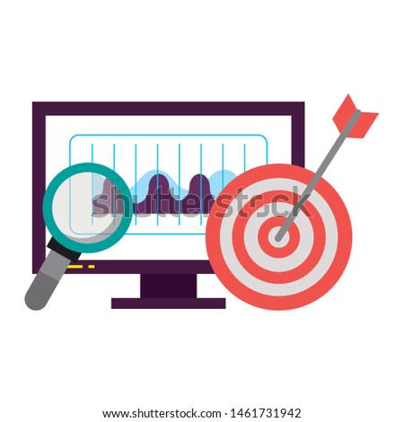 computer screen technology hardware looking for information and objetive cartoon vector illustration graphic design Photo stock ©