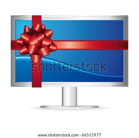 Computer screen. Vector gift illustration.
