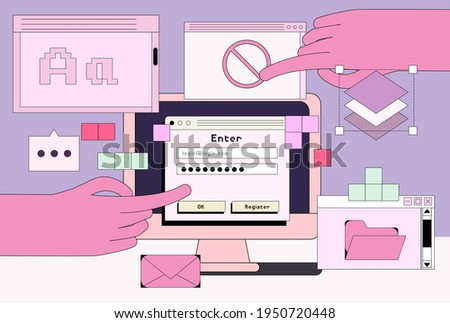 Computer screen with programs and applications. Conceptual flat vector illustration of UI and UX design and programming.