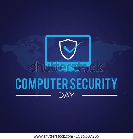 Computer Security Day letter emblem in flat style. Calendar for each day on november 30. Vector illustration EPS.8 EPS.10