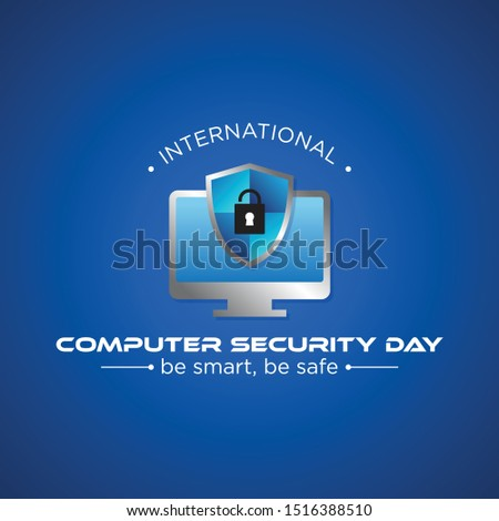 Computer Security Day letter emblem in modern style. Calendar for each day on november 30. Vector illustration EPS.8 EPS.10