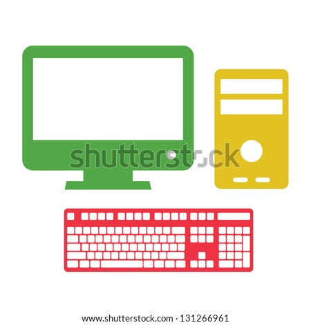 computer set  on white isolated