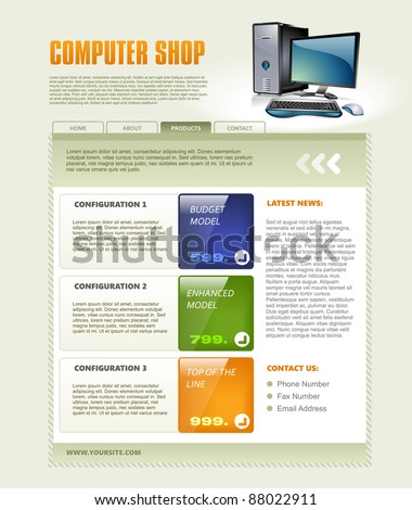 Computer Shop Web Page Template, detailed vector