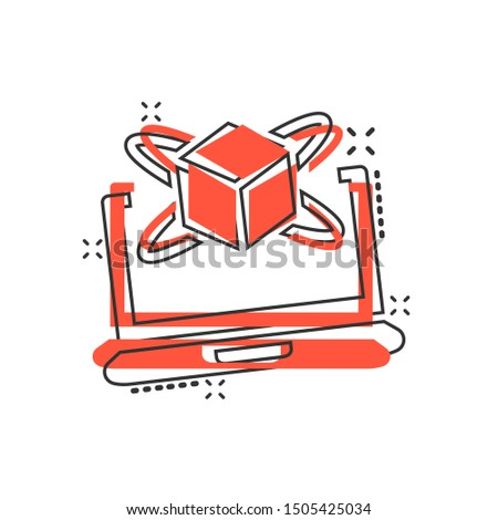 Computer simulation icon in comic style. Vr device vector cartoon illustration on white isolated background. Technology business concept splash effect.