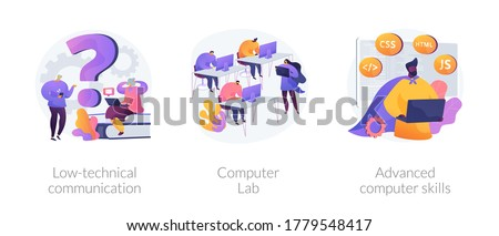 Computer skills requirement abstract concept vector illustration set. Low-technical communication, computer Lab, advanced skills, IT learning, devices for older people, laboratory abstract metaphor.