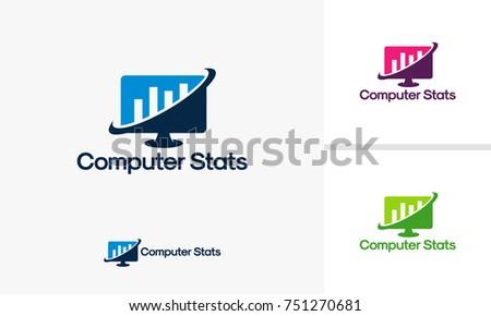 Computer Stats Logo template, Computer Marketing logo designs vector
