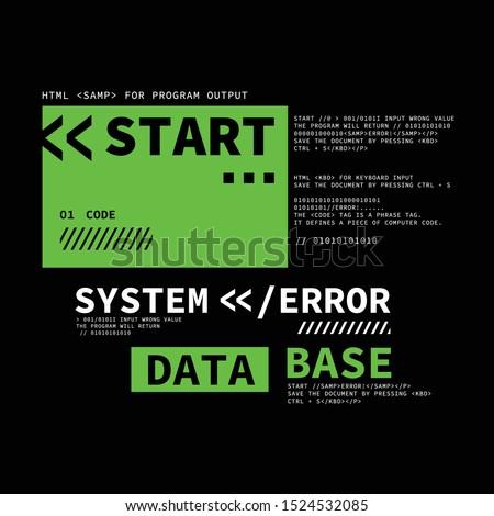Computer system error typography, tee shirt graphics, vectors