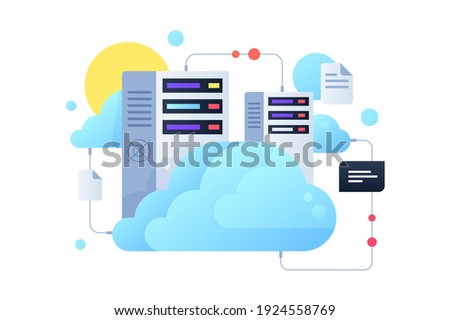Computer system using for cloud servers with sun. Concept digital documents and message using for modern connected pc technology. Vector illustration.