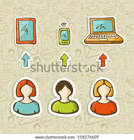 Computer, tablet and mobile devices connect social network people over sketch icons pattern.  Vector illustration layered for easy manipulation and custom coloring.