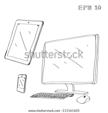 computer ,tablet ,phone Drawing