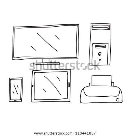 computer ,tablet ,phone,printer Drawing
