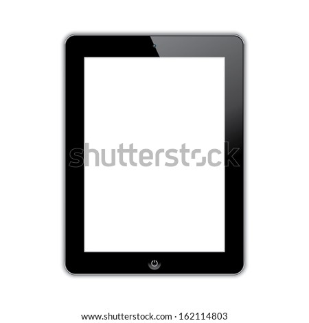 computer tablet with blank white screen. vector realistic illustration. eps10