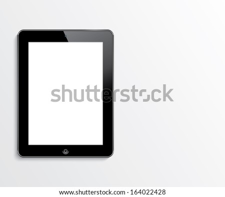 computer tablet with blank white screen. vector realistic illustration. eps10 - stock vector