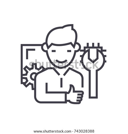 computer technician concept vector thin line icon, symbol, sign, illustration on isolated background