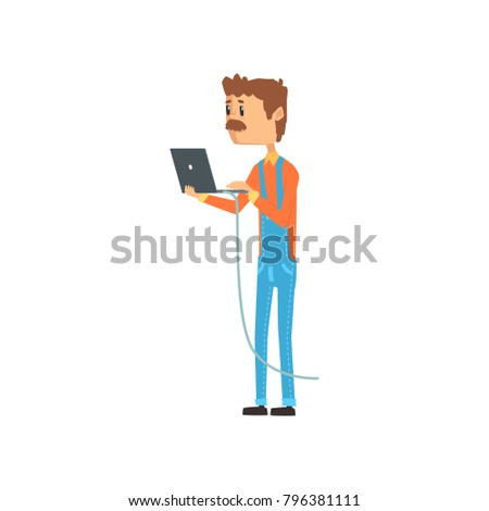 Computer technician or system administrator standing with laptop, networking service cartoon vector illustration