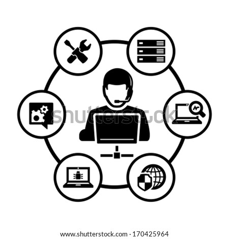 Computer technician vector icon