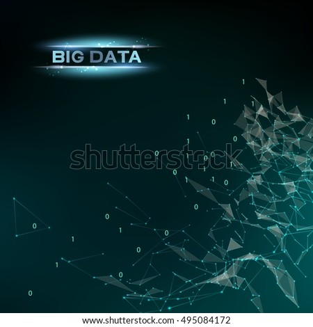 Computer technology and Big Data. Abstract infomation design code in futuristic style. Industrial modern screen. Digital cyber design over dak blue background. Vector illustration.