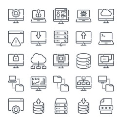 Computer Technology and Network Development related line icon set. Data transfer linear icons. computer options outline vector sign collection.