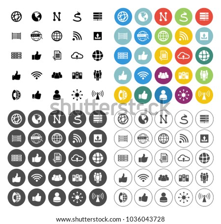 computer technology Network icons set - communication concept - social media sign and symbols