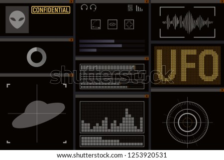 Computer UFO design. The user interface of the spacecraft. Vector illustration.