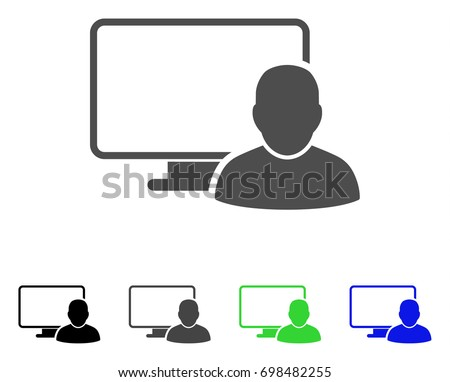 Computer User flat vector pictogram. Colored computer user, gray, black, blue, green icon versions. Flat icon style for web design.