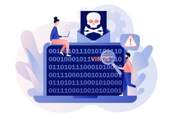 Computer virus concept. Hacker attack and web security. Scam alert. Code on laptop screen. Spam, malicious application. Envelope with skull. Modern flat cartoon style. Vector illustration