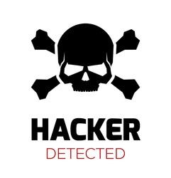 Computer Virus Concept. Hacker Attack Detected. Red Skull Laptop Icon. Vector Illustration.