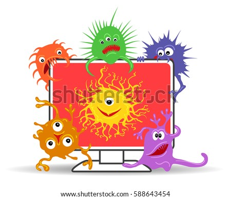 Computer virus internet security attack vector illustration. Display icon with viruses danger isolated on white background