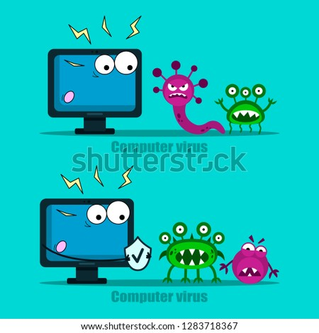 Computer virus internet security attacks. Protect your computer with antivirus, virus in a fright. Vector illustration on blue background.