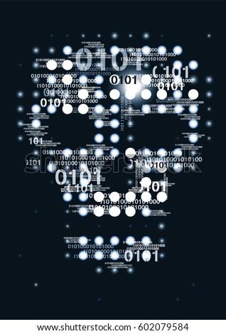 computer virus skull danger