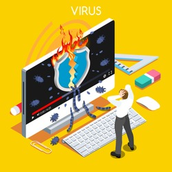 Computer virus trojan malware attack warning infographic. 3D flat isometric people set. Virus hacker attack trojan malware computer infection high security risk spectre meltdown vector illustration