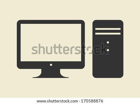 Computer Design Icon Computer Web Icon Flat Design
