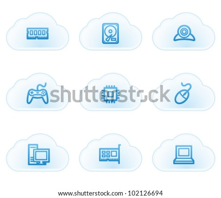 Computer web icons, cloud buttons