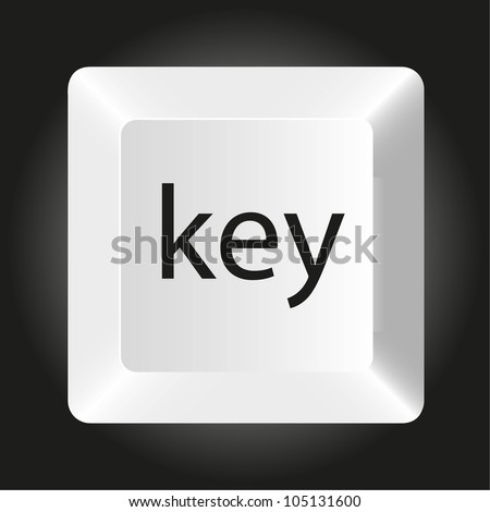computer white key, isolated on black background, vector illustration