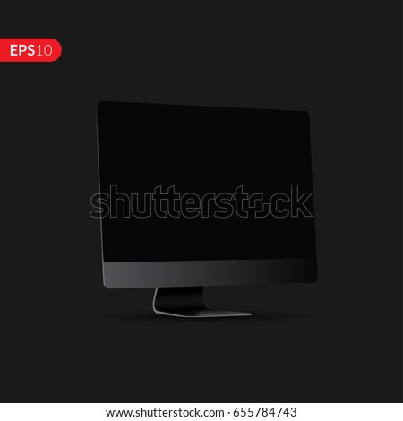 Computer with a black display in perspective vector design. Realistic monitor, screen with mockup isolated on dark background for banner, flyers or advertising.