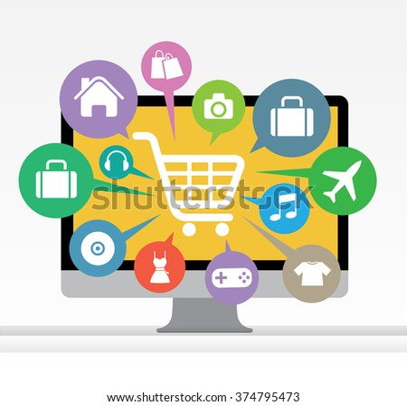 Computer with awning and basket on line shop, ecommerce concept vector
