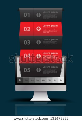 Computer With banner modern template design vector illustration