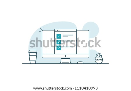Computer with checklist. Workspace with computer, coffee cup, plant and browser with checkboxes. Vector illustration in line art style
